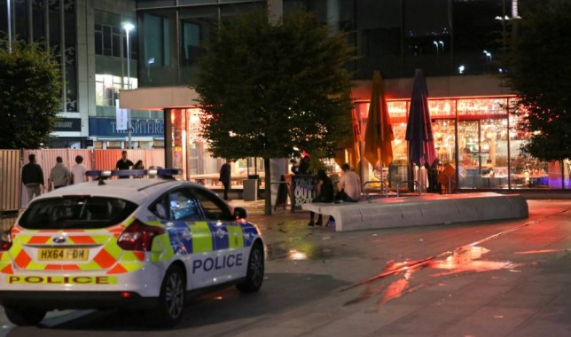 Southampton,Hampshire Friday 18th September 2015 Southampton, Hampshire GV showing Police scene and clear up operation after a female sustained an acid attack which had been thrown into her face. Police cordoned off a 10M area near Turtle Bay in Southampton. The attack happen on Friday 18th September 2015 at around 9PM. One person has described the offender throwing liquid at the girl and her face melting very quickly. The woman suffered severe burns when an offender threw an acid-like liquid in her face in the attack. An Ambulance has taken the woman to the Southampton General Hospitial where she was being treated for serious burns to face, eyes and hands. She is critical but expected to survive. Detectives along with scene of crime officers have spent most of the evening photographing the scene and taking statements from shocked clubbers and party goers who where in the area a the time. A fire crew from Hampshire Fire and rescue were <P> Pictured: Southampton,Hampshire Friday 18th September 2015 Southampton, Hampshire GV showing Police scene and clear up operation after a female sustained an acid attack which had been thrown into her face. Police cordoned off a 10M area near Turtle Bay in Southampton. The attack happen on Friday 18th September 2015 at around 9PM. One person has described the offender throwing liquid at the girl and her face melting very quickly. The woman suffered severe burns when an offender threw an acid-like liquid in her face in the attack. An Ambulance has taken the woman to the Southampton General Hospitial where she was being treated for serious burns to face, eyes and hands. She is critical but expected to survive. Detectives along with scene of crime officers have spent most of the evening photographing the scene and taking statements from shocked clubbers and party goers who where in the area a the time. A fire crew from Hampshire Fire and rescue were called in to wash away the scene. <B>Ref: SPL1129543 180915 </B><BR /> Picture by: UKN