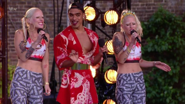 Polly Duniam, Sophie Duniam and Seann Miley Moore perform for the judges on 'The X Factor Bootcamp', Broadcast on ITV1 HD Featuring: Polly Duniam, Sophie Duniam, Seann Miley Moore When: 21 Sep 2015 Credit: Supplied by WENN **WENN does not claim any ownership including but not limited to Copyright, License in attached material. Fees charged by WENN are for WENN's services only, do not, nor are they intended to, convey to the user any ownership of Copyright, License in material. By publishing this material you expressly agree to indemnify, to hold WENN, its directors, shareholders, employees harmless from any loss, claims, damages, demands, expenses (including legal fees), any causes of action, allegation against WENN arising out of, connected in any way with publication of the material.**