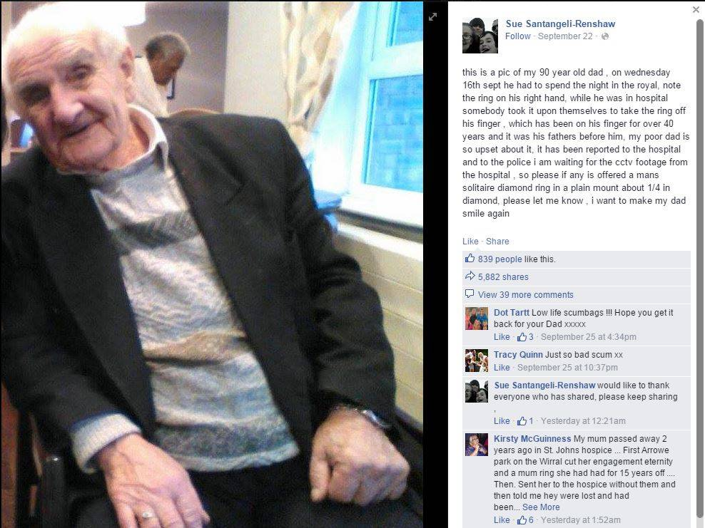 Diamond ring stolen off the hand of 90 yr old Alzheimers patient Credit: Facebook