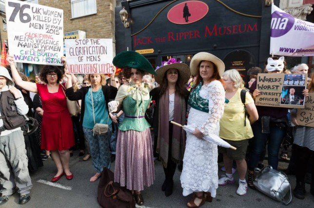 Mandatory Credit: Photo by Vickie Flores/LNP/REX Shutterstock (4929788l).. Protesters from local and women's groups across London demonstrate outside the new Jack the Ripper museum at 12 Cable Street, Shadwell, east London.. Protest against the 'Jack the Ripper Museum', London, Britain - 04 Aug 2015.. The planning application for the museum stated that the museum would celebrate the historic, current and future contribution of women of the East End of London. The museum had been scheduled to open today, but remains closed..