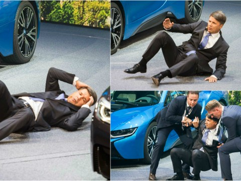 BMW boss collapses on stage during Frankfurt Auto Show presentation