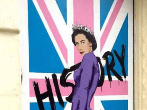 London artist creates portrait of half-naked Queen to celebrate her reign