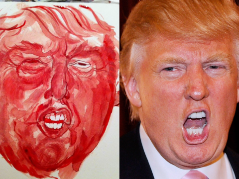 Woman paints Donald Trump's portrait using her period blood