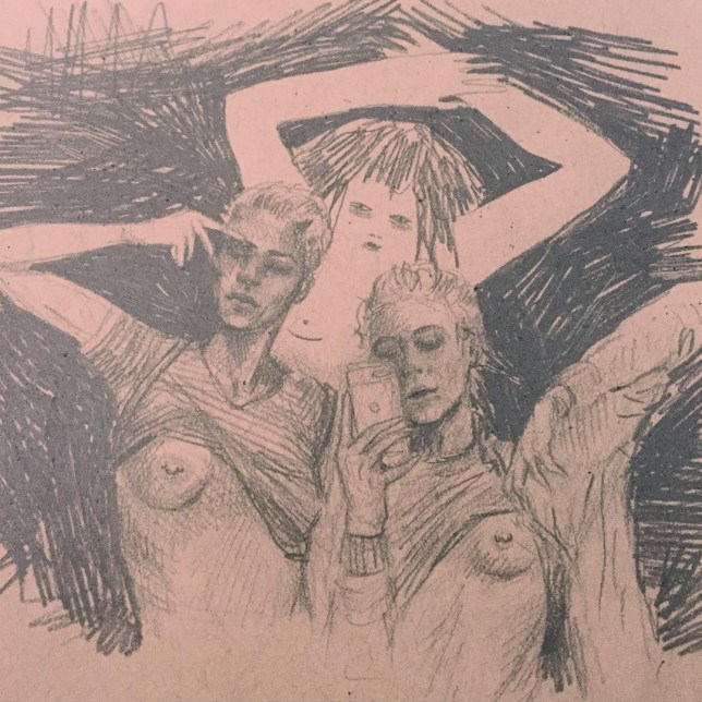 Illustration of three topless women by Frances Waite