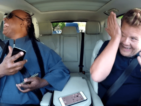 James Corden cries when Stevie Wonder serenades his wife over the phone
