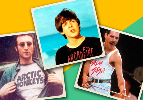 An artist has mocked up these odd images of rock superstars sporting modern band t-shirts…