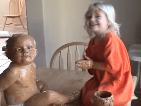 She was just 'scrubbing him', okay? Three-year-old girl caught covering her baby brother in peanut butter