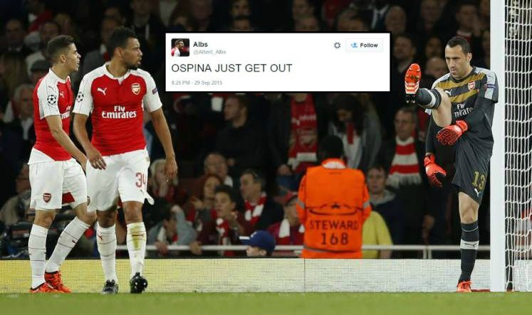 Arsenal fans tell David Ospina to get out of the club after own goal v Olympiakos