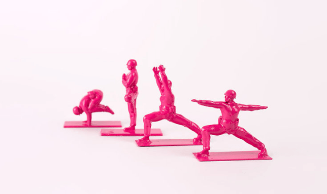 toy soldiers in yoga poses challenge traditional ideas of masculinity yoga joes