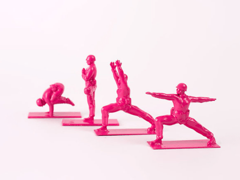 These toy soldiers doing yoga poses are challenging traditional ideas of masculinity