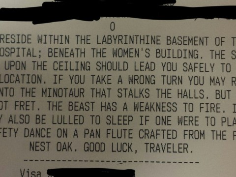 Pizza driver receives epic delivery instructions involving labyrinths and a Minotaur