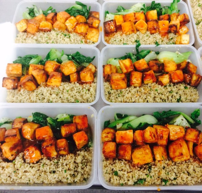 Chinese sweet & sour tofu with seasoned quinoa and garlic pak choi (Picture: GIVE Kitchen)