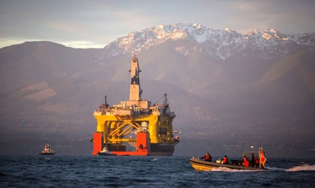 The Transocean Polar Pioneer was used to explore Arctic oil (Picture: Daniella Beccaria/AP)