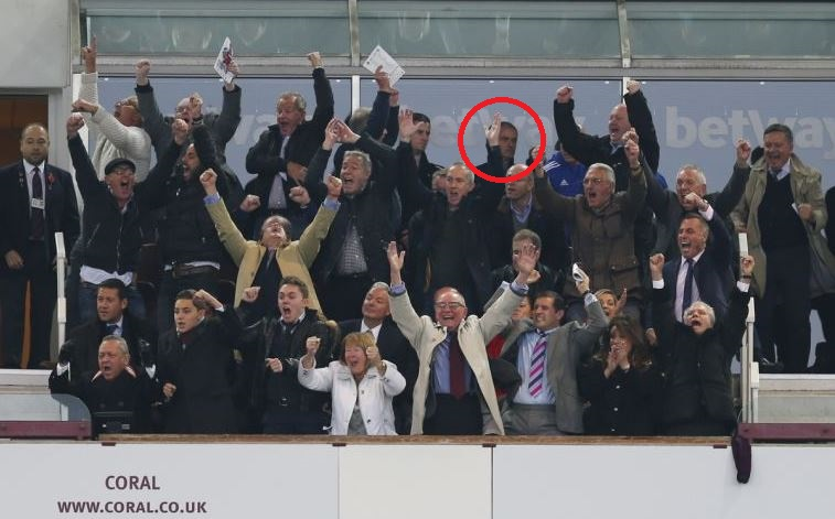 West Ham's box celebrating Andy Carroll winner around Chelsea boss Jose Mourinho is the best picture you'll see today