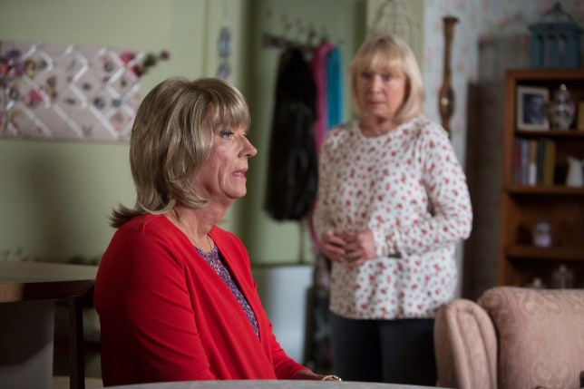 WARNING: Embargoed for publication until 00:00:01 on 13/10/2015 - Programme Name: EastEnders - TX: 23/10/2015 - Episode: 5160 (No. n/a) - Picture Shows: Pam meets Christine. ***Embargoed till 20.30pm 23/10/2015*** Christine (ROGER SLOMAN), Pam Coker (LIN BLAKLEY) - (C) BBC - Photographer: Gary Moyes