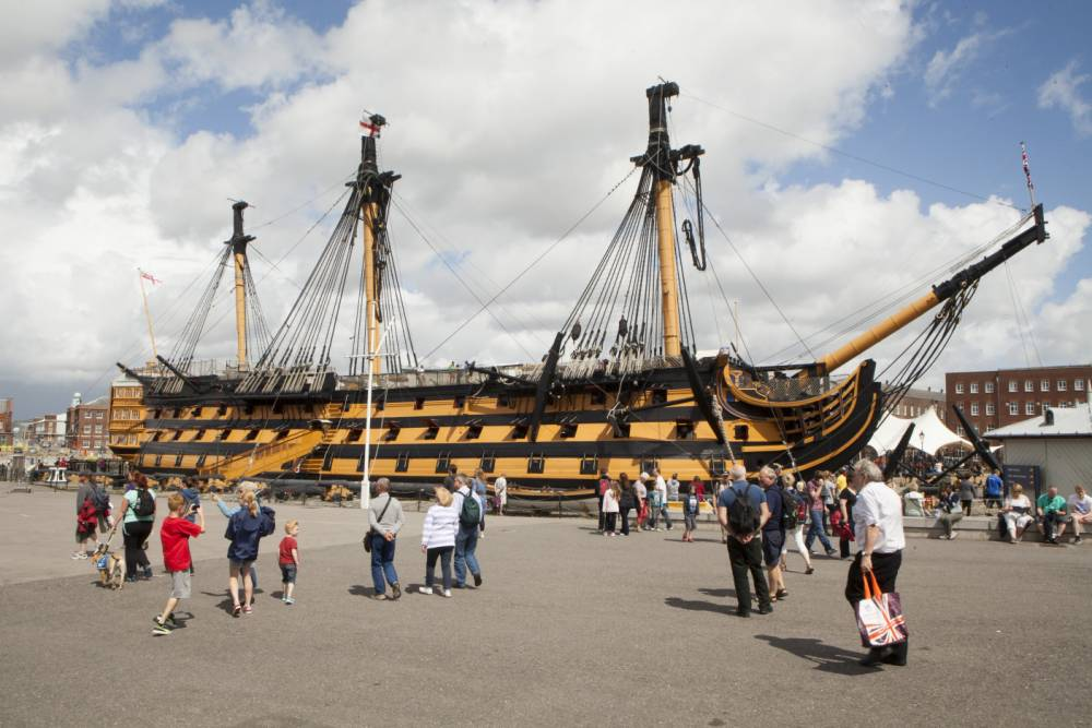HMS Victory has undergone an unlikely makeover and is now pink