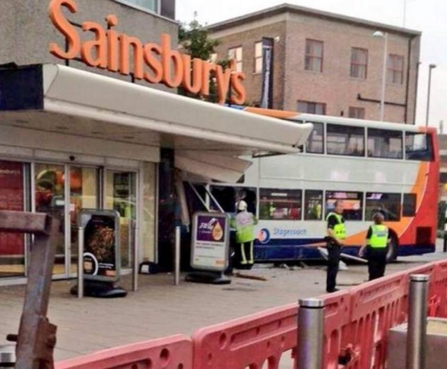 BEST QUAILTY AVAILABLE Handout photo taken with permission from the Twitter feed of @Haroon_Mota of a the scene where a double decker bus has crashed into a Sainsbury's supermarket on Trinity Street in Coventry. PRESS ASSOCIATION Photo. Issue date: Saturday October 3, 2015. The bus was travelling through Hale Street when it collided with a number of stationary cars and a lamppost before crashing into the supermarket on Trinity Street at 6pm, West Midlands Police said. See PA story POLICE Crash. Photo credit should read: @Haroon_Mota/PA Wire NOTE TO EDITORS: This handout photo may only be used in for editorial reporting purposes for the contemporaneous illustration of events, things or the people in the image or facts mentioned in the caption. Reuse of the picture may require further permission from the copyright holder.