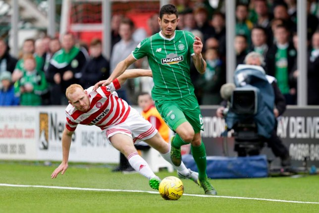 "Football - Hamilton Academical v Celtic - Ladbrokes Scottish Premiership - New Douglas Park - 4/10/15 Hamilton Academical's Ziggy Gordon (L) in action with Celtic's Nir Bitton Action Images via Reuters / Graham Stuart Livepic EDITORIAL USE ONLY. No use with unauthorized audio, video, data, fixture lists, club/league logos or ""live"" services. Online in-match use limited to 45 images, no video emulation. No use in betting, games or single club/league/player publications. Please contact your account representative for further details."