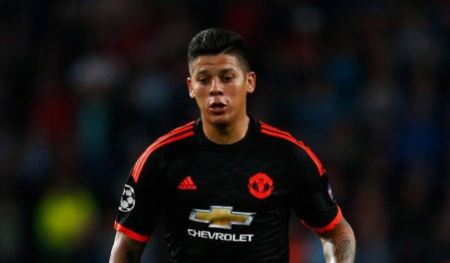 EINDHOVEN, NETHERLANDS - SEPTEMBER 15: Marcos Rojo of Manchester United in action during the UEFA Champions League Group B match between PSV Eindhoven and Manchester United at PSV Stadion on September 15, 2015 in Eindhoven, Netherlands. (Photo by Dean Mouhtaropoulos/Getty Images)