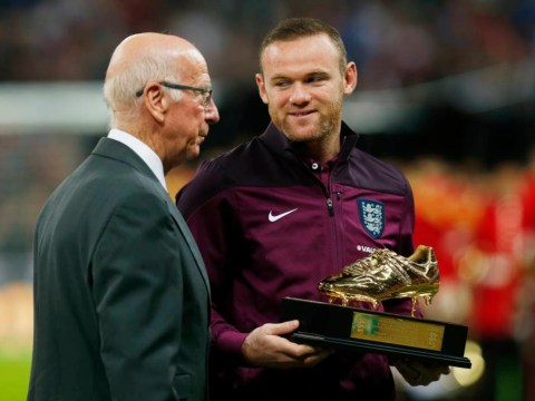 Wayne Rooney presented with golden boot in recognition of Manchester United star's England goal record