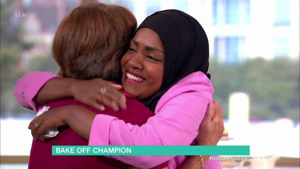 Nadiya Hussain appears on 'This Morning' to talk about her life since winning 'The Great British Bake Off'. Holly and Phill reunite her with her school teacher Jean Marshall who taught her to bake. Broadcast on ITV1 HD Featuring: Nadiya Hussain, Jean Marshall When: 13 Oct 2015 Credit: Supplied by WENN **WENN does not claim any ownership including but not limited to Copyright, License in attached material. Fees charged by WENN are for WENN's services only, do not, nor are they intended to, convey to the user any ownership of Copyright, License in material. By publishing this material you expressly agree to indemnify, to hold WENN, its directors, shareholders, employees harmless from any loss, claims, damages, demands, expenses (including legal fees), any causes of action, allegation against WENN arising out of, connected in any way with publication of the material.**
