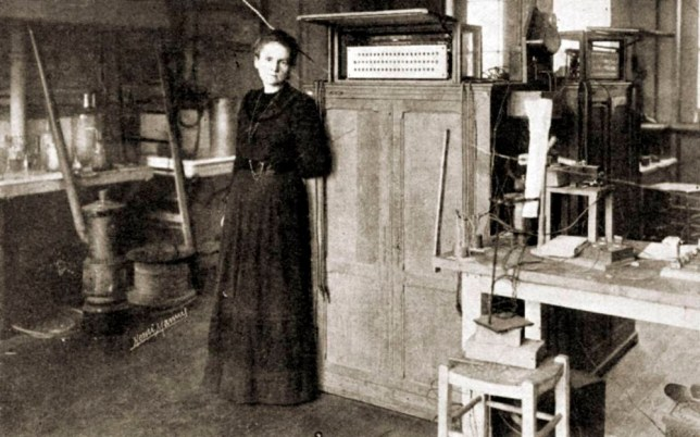 Marie Curie - portrait of the French scientist, pioneer in the fields of radiation, radioactivity and radiology, working in her laboratory in Sorbonne, Paris 1898. PC: 15 May 1859 - 19 April 1906.nMC: 7 November 1867 - 4 July 1934.nAwarded the Nobel Prize in physics jointly in 1903.nFrom 'L'Illustration', 29 December 1923 edition. (Photo by Culture Club/Getty Images)