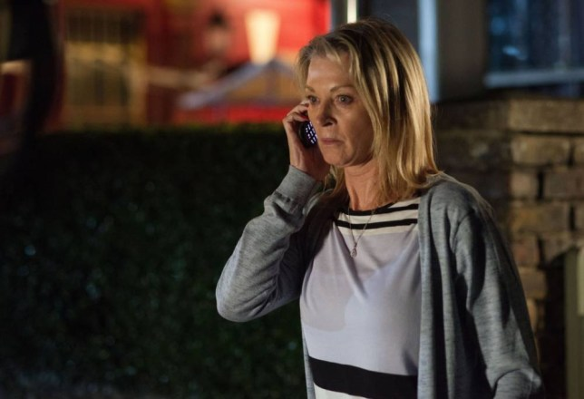WARNING: Embargoed for publication until 00:00:01 on 20/10/2015 - Programme Name: EastEnders - TX: 30/10/2015 - Episode: 5164 (No. n/a) - Picture Shows: A frightened Kathy receives a phone call. Kathy Sullivan (GILLIAN TAYLFORTH) - (C) BBC - Photographer: Kieron McCarron