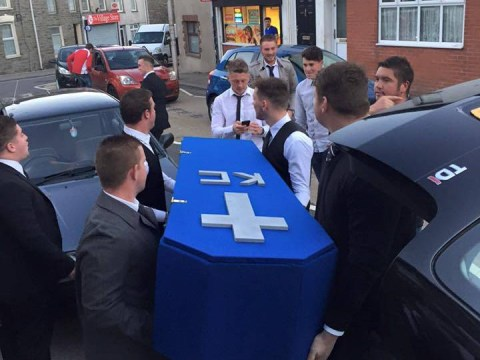 Lads hold mock funeral for their mate after he gets a girlfriend