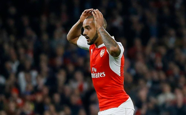 Arsenal's Theo Walcott reacts to a missed chance during the Champions League Group F soccer match between Arsenal and Bayern Munich at Emirates stadium in London Tuesday, Oct. 20, 2015. (AP Photo/Kirsty Wigglesworth)