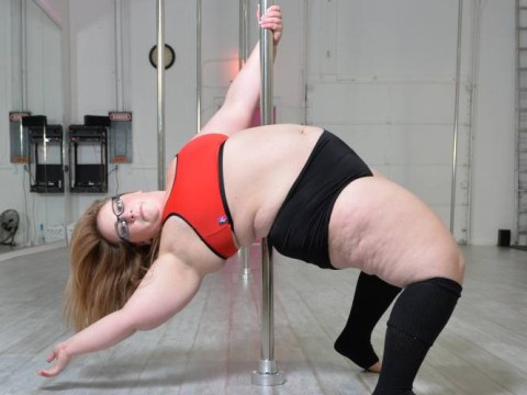 This plus size pole dancer has all the moves and she ain't afraid to show 'em