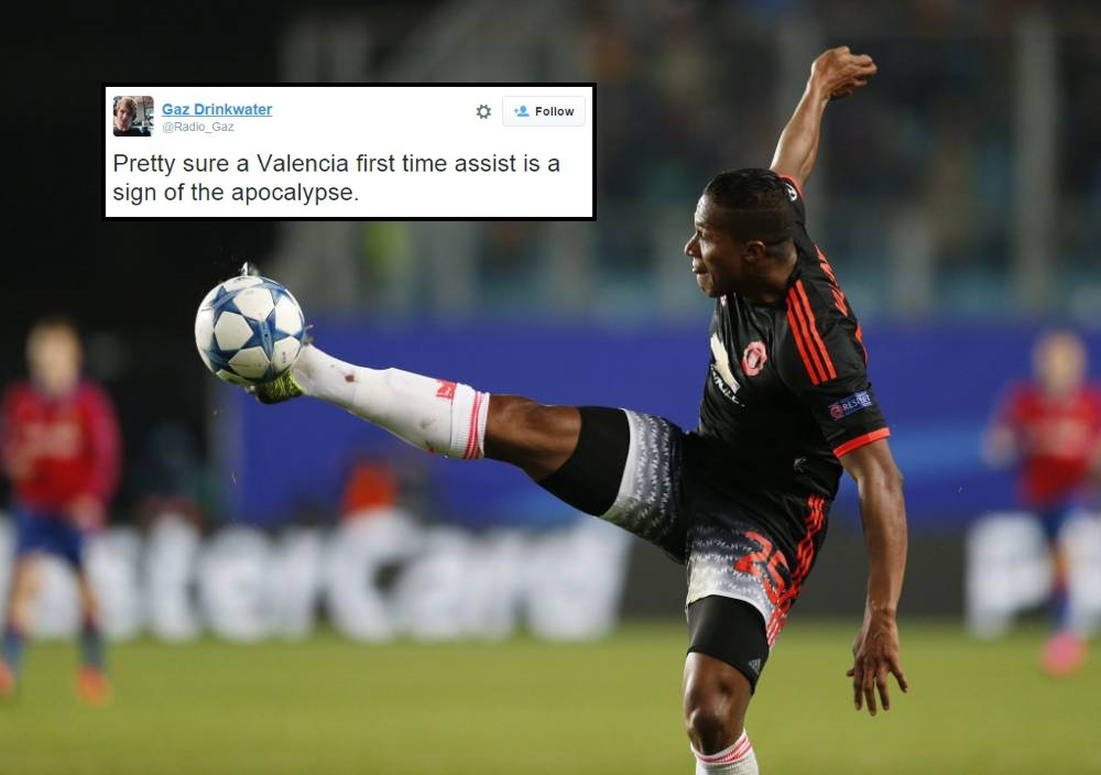 Manchester United fans lose their heads as Antonio Valencia actually gets an assist during CSKA Moscow match