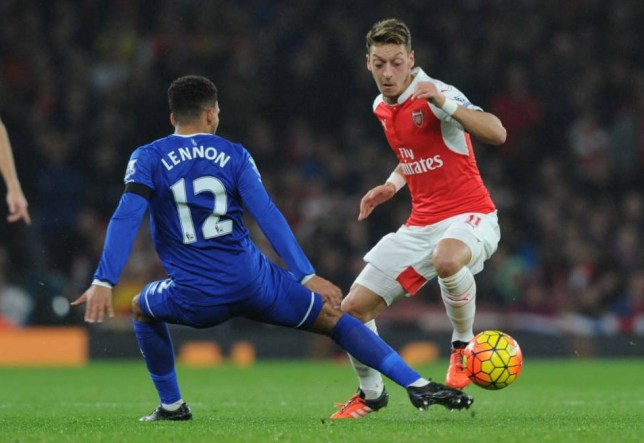 LONDON, ENGLAND - OCTOBER 24: Mesut Ozil of Arsenal takes on Aaron Lennon of Everton during the Barclays Premier League match between Arsenal and Everton at Emirates Stadium on October 24, 2015 in London, England. (Photo by Stuart MacFarlane/Arsenal FC via Getty Images)