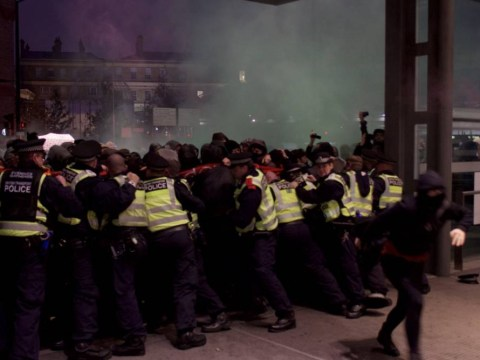 Kings Cross pro-migrant protest turns nasty with smoke bombs thrown at police