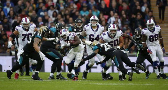 LONDON, ENGLAND - OCTOBER 25: LeSean McCoy #25 of Buffalo Bills attacks during the NFL game between Jacksonville Jaguars and Buffalo Bills at Wembley Stadium on October 25, 2015 in London, England. (Photo by Alan Crowhurst/Getty Images)
