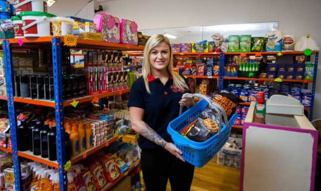 Charlotte Danks aged 20, from Newquay, Cornwall, has opened a budget supermarket in the Cornish town. The shop sells products from 25p and aims to help poor people in Cornwall. 26/10/2015 A kind-hearted young woman is taking on the supermarket giants by opening up her own store to help the poor ñ and is selling most items for just 25 PENCE. See swns story SWMARKET. The Bargain Brand Food outlet is stocked from floor to ceiling with food which is not up to the standard of the supermarket giants so she can sell it for virtually nothing. Most of her stock comes from the main chains, but they choose not to sell it due to manufacturing defects, such as damaged packaging or incorrect labels. Charlotte Danks, 20, of Newquay, Cornwall, launched the venture five months ago, to give cash-strapped people in her local community a more viable option then just going to food banks. The items stocked in Charlotte's store, which include fresh meat, dairy, tinned foods and even hair dye, are coming to the end of their sell-by date, but are still well within their use-by date. Most items sell for just 25 pence, with the most expensive being a two-litre tub of curry powder, at £2.50. The shop has been so successful that Charlotte is now planning on opening two more in St Austell and Penzance.