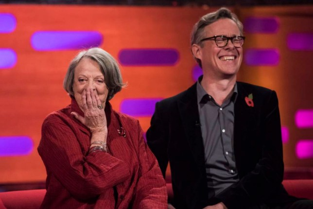 Dame Maggie Smith and Alex Jennings during filming of the Graham Norton Show at the London Studios, south London. PRESS ASSOCIATION Photo. Picture date: Sunday October 11, 2015. Photo credit should read: Matt Crossick/PA Images on behalf of So TV