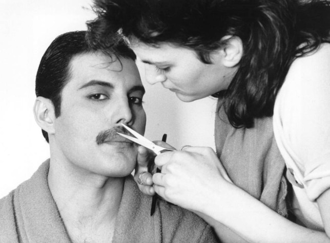 1982: Rock singer Freddie Mercury (Frederick Bulsara, 1946 - 1991), of the popular British group Queen, has his moustache groomed. (Photo by Steve Wood/Express/Getty Images)