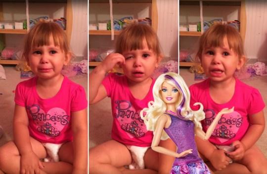 3 Year Old Paints Barbie with Disney Nail Polish Credit: Joseph Nagorski/ Youtube