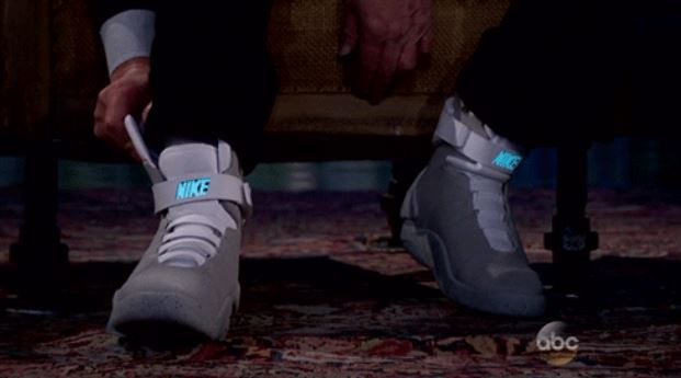 Michael J Fox models his Back To The Future Nike Air Mag self-lacing trainers on Jimmy Kimmel Live