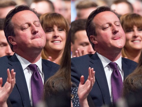 David Cameron made this face during George Osborne's speech at the Tory conference