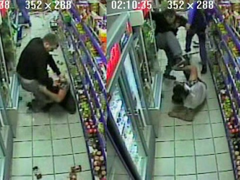Shopkeeper just won't be beaten by raiders despite having bottles smashed over his head