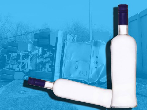 Party starts after lorry in Russia spills 20,000 bottles of vodka