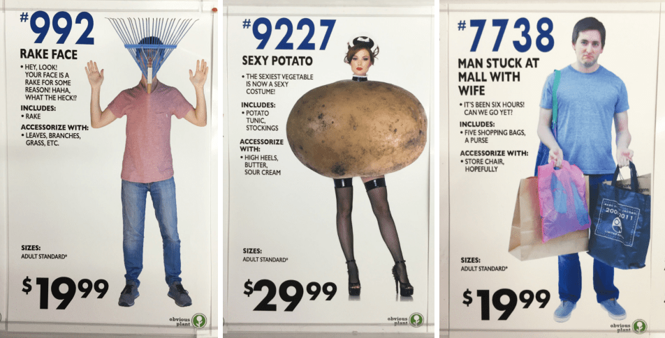 Obvious Plant put fake halloween costumes in a store