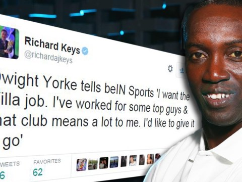 Former Manchester United striker Dwight Yorke throws his hat in the ring to become Aston villa manager after Tim Sherwood was sacked