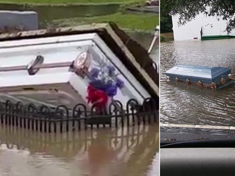 Coffins float from graves during torrential flooding in America