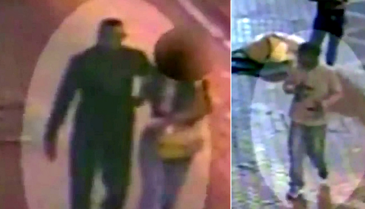 CCTV footage catches two suspects before and after the rape of a woman near a Birmingham train station