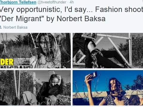 People aren't happy with this fashion shoot that dresses a model up as a refugee