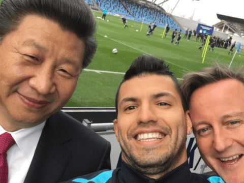 Manchester City star Sergio Aguero grabs selfie with Chinese president Xi as David Cameron also squeezes in photo