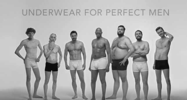 dressmann advert is promoting body positivity by celebrating underwear for the perfect body