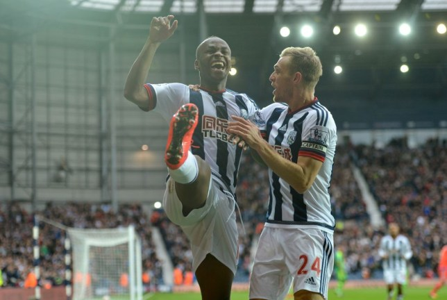 WEST BROMWICH, ENGLAND - OCTOBER 17: Saido Berahino of West Bromwich Albion celebrates with team-mate Darren Fletcher after scoring a goal to make it 1-0 during the Barclays Premier League match between West Bromwich Albion and Sunderland at The Hawthorns on October 17, 2015 in West Bromwich, England. (Photo by Adam Fradgley - AMA/WBA FC via Getty Images)